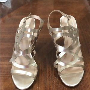 BCBG Paris open toe gold sandals